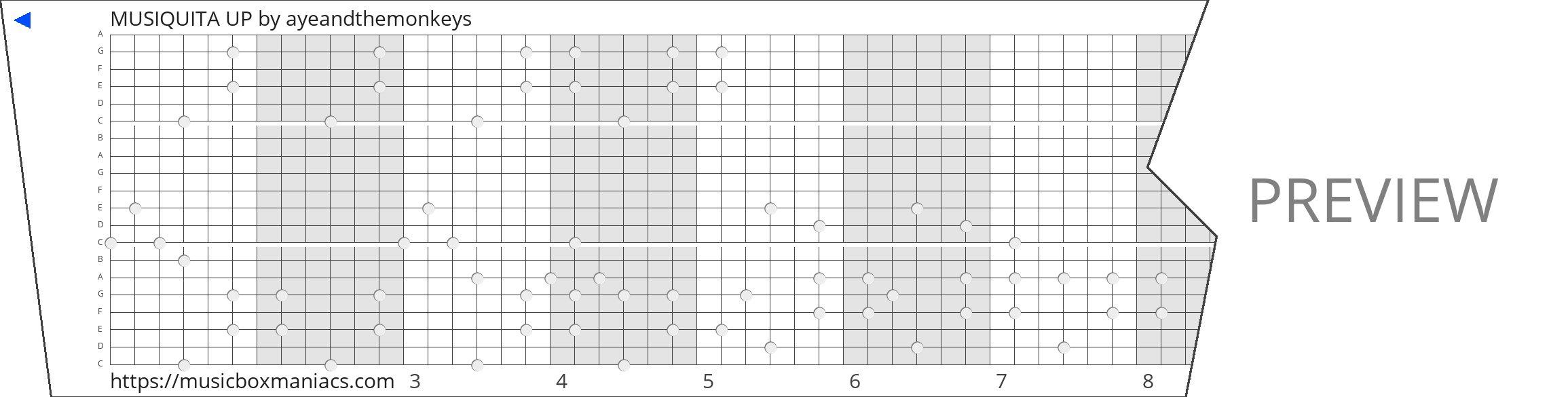 MUSIQUITA UP 20 note music box paper strip