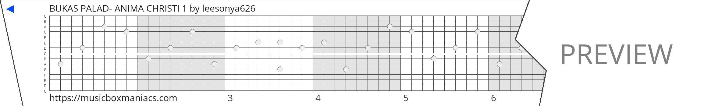 BUKAS PALAD- ANIMA CHRISTI 1 15 note music box paper strip