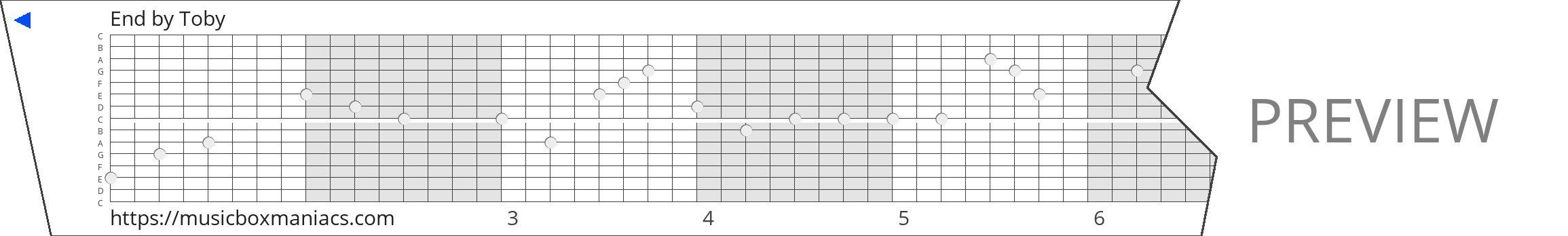 End 15 note music box paper strip