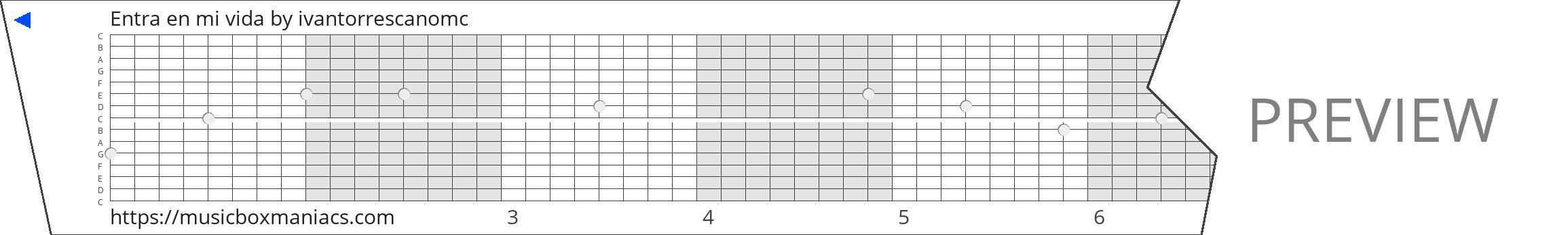 Entra en mi vida 15 note music box paper strip
