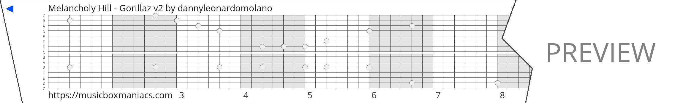 Melancholy Hill - Gorillaz v2 15 note music box paper strip