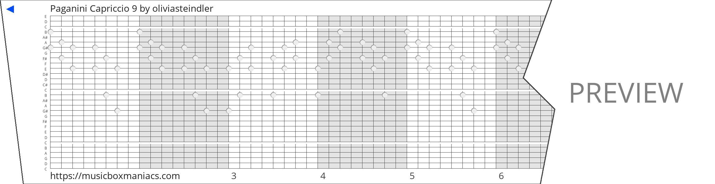 Paganini Capriccio 9 30 note music box paper strip