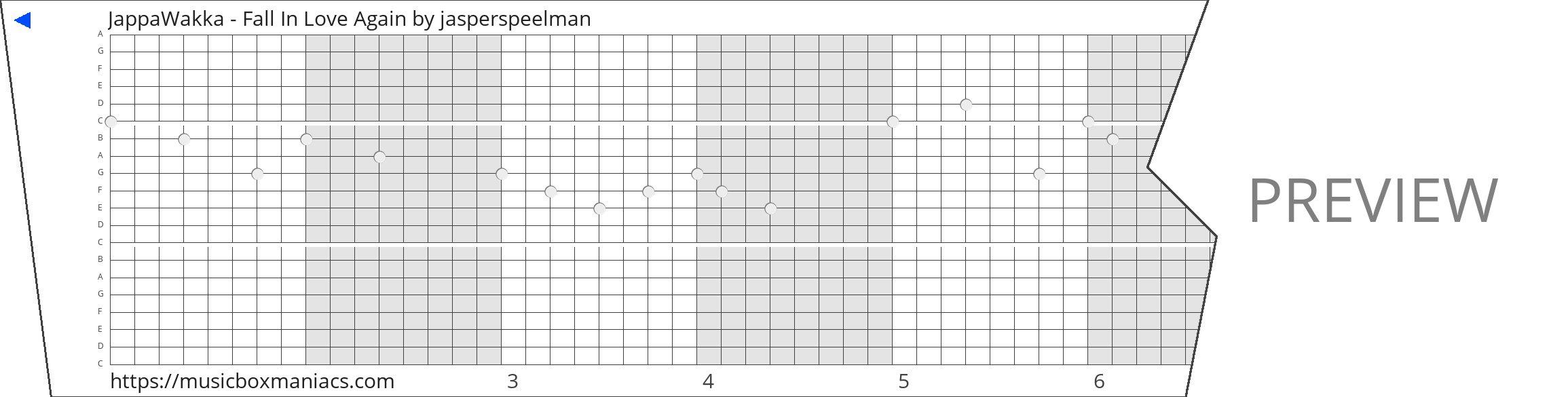 JappaWakka - Fall In Love Again 20 note music box paper strip