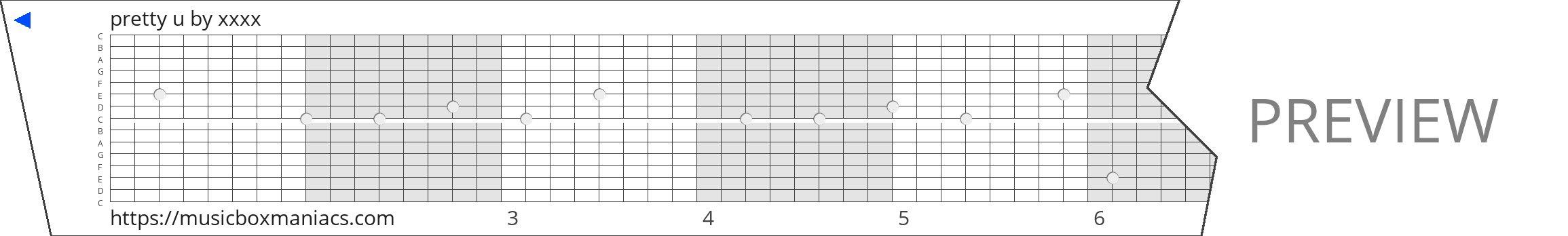 pretty u 15 note music box paper strip