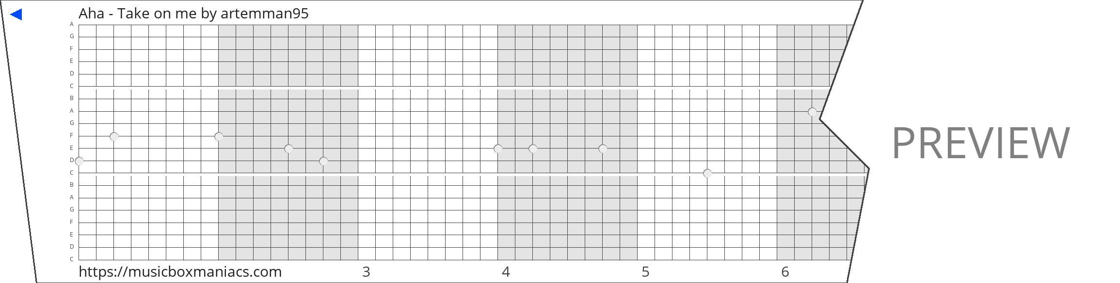 Aha - Take on me 20 note music box paper strip