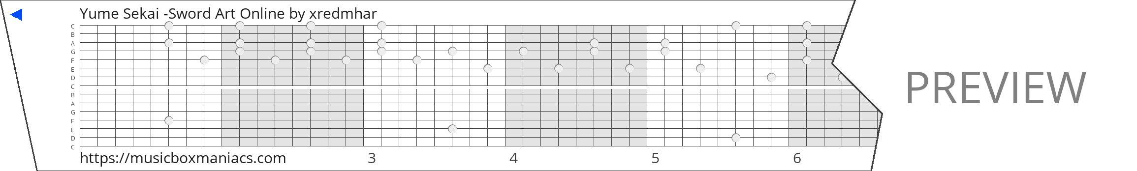 Yume Sekai -Sword Art Online 15 note music box paper strip