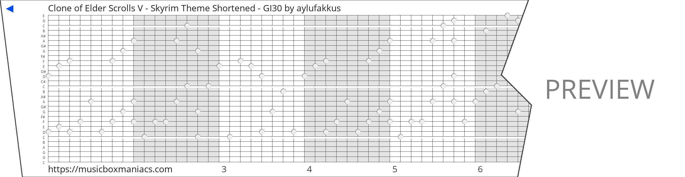 Clone of Elder Scrolls V - Skyrim Theme Shortened - GI30 30 note music box paper strip