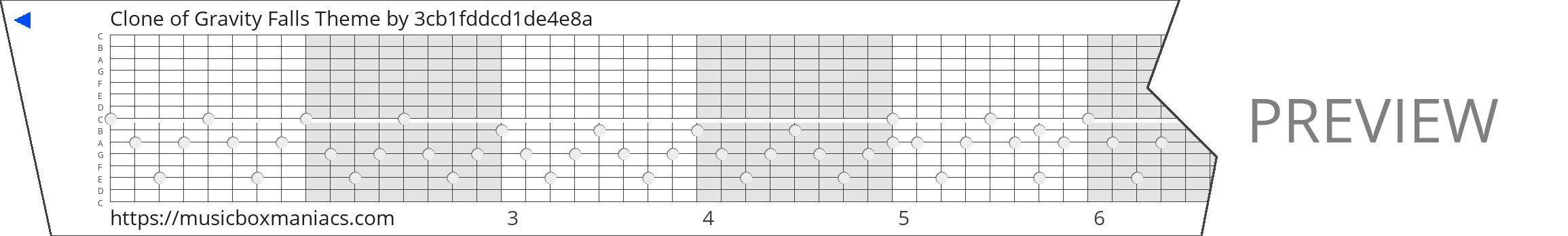 Clone of Gravity Falls Theme 15 note music box paper strip