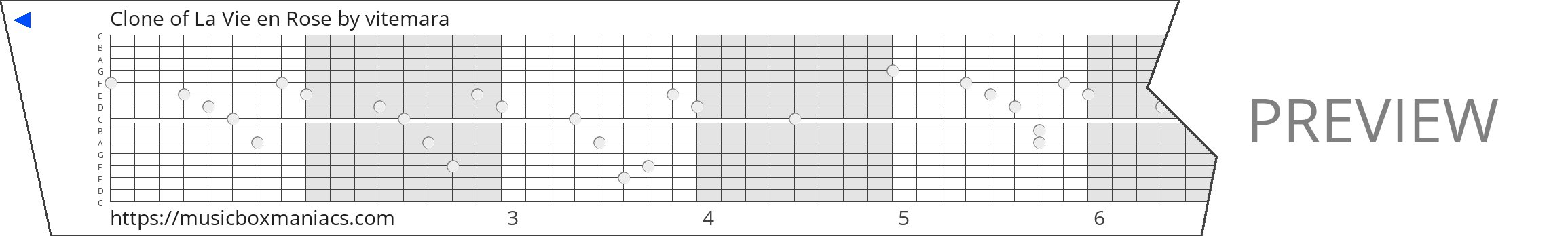 Clone of La Vie en Rose 15 note music box paper strip