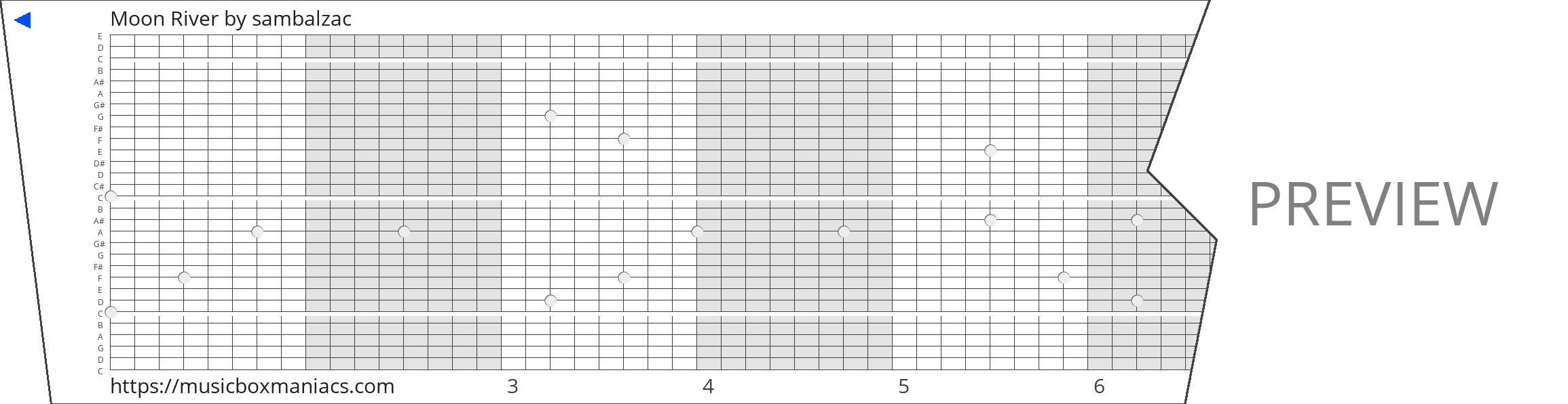 Moon River 30 note music box paper strip