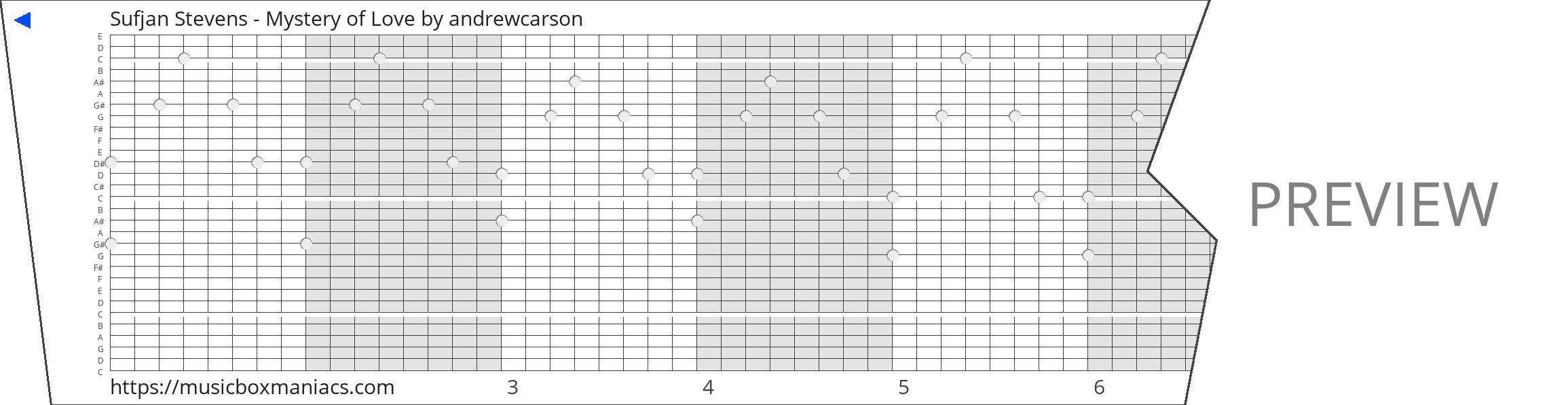 Sufjan Stevens - Mystery of Love 30 note music box paper strip
