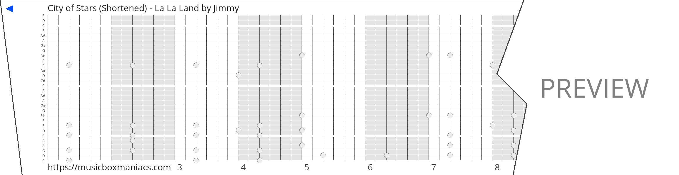 City of Stars (Shortened) - La La Land 30 note music box paper strip