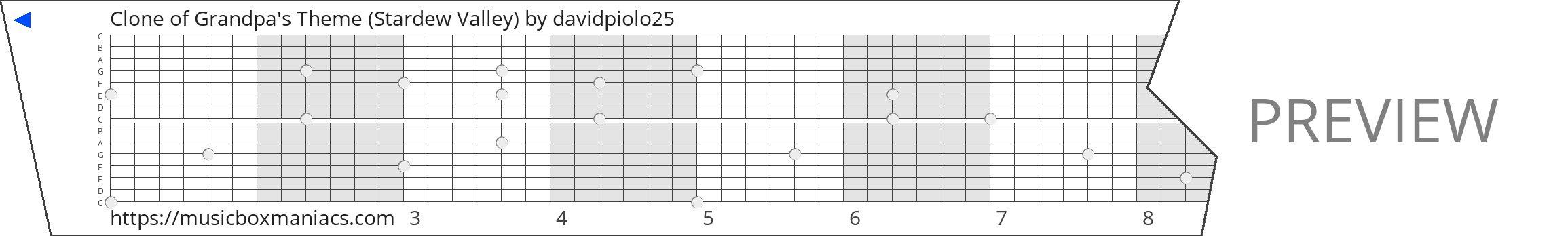 Clone of Grandpa's Theme (Stardew Valley) 15 note music box paper strip