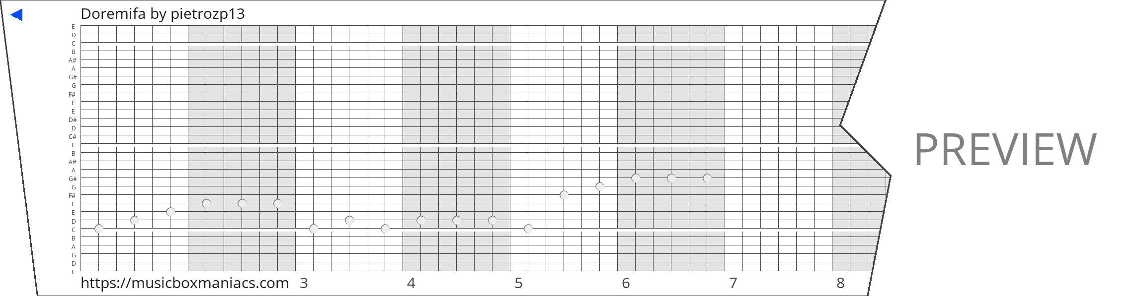 Doremifa 30 note music box paper strip