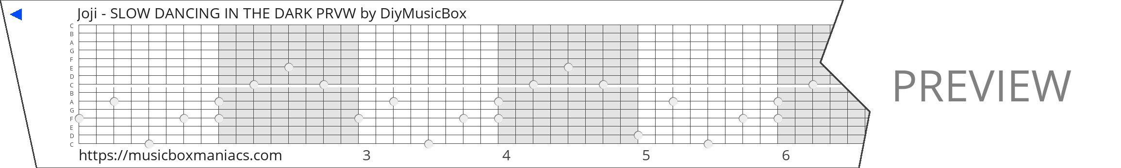 Joji - SLOW DANCING IN THE DARK PRVW 15 note music box paper strip