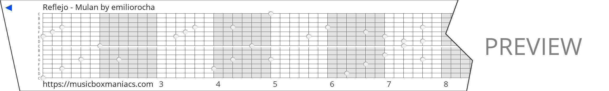 Reflejo - Mulan 15 note music box paper strip