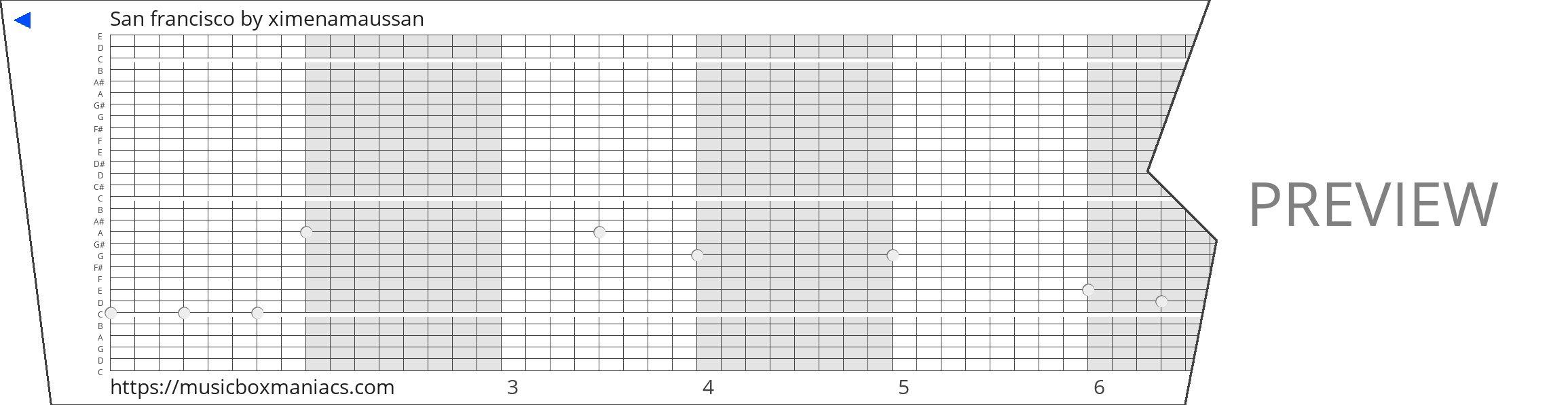 San francisco 30 note music box paper strip