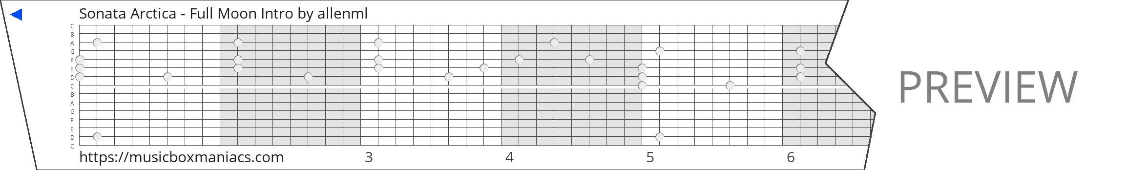Sonata Arctica - Full Moon Intro 15 note music box paper strip