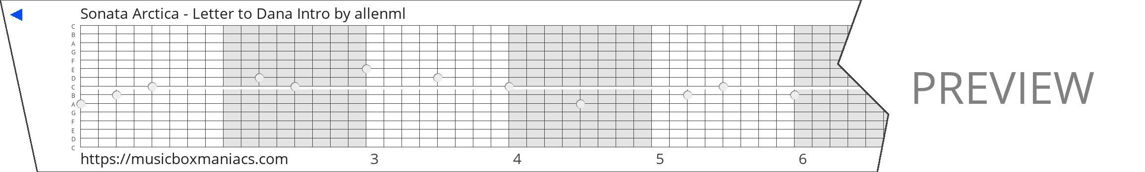 Sonata Arctica - Letter to Dana Intro 15 note music box paper strip