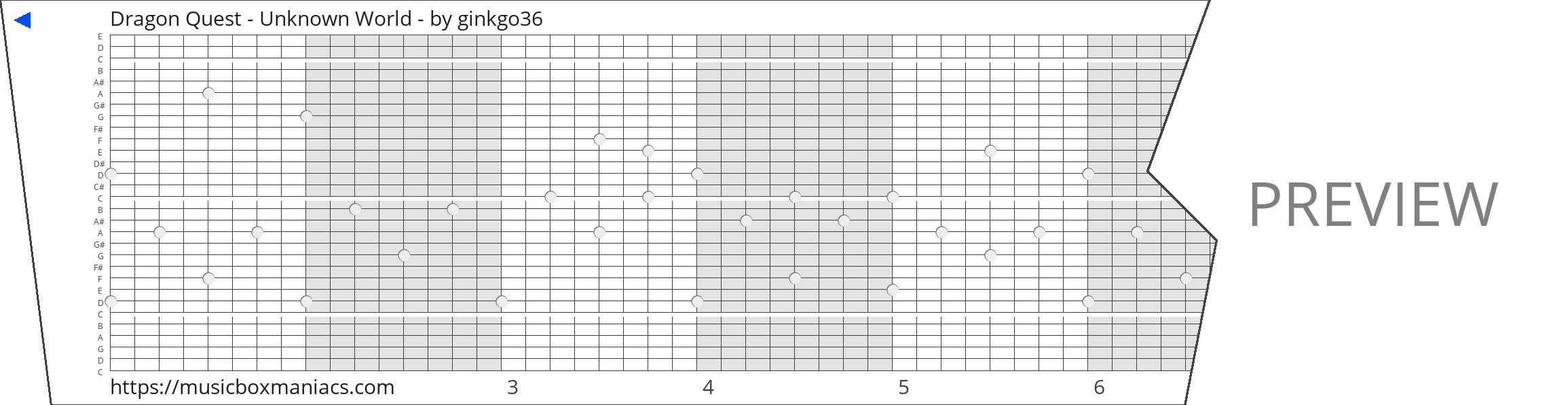 Dragon Quest - Unknown World - 30 note music box paper strip