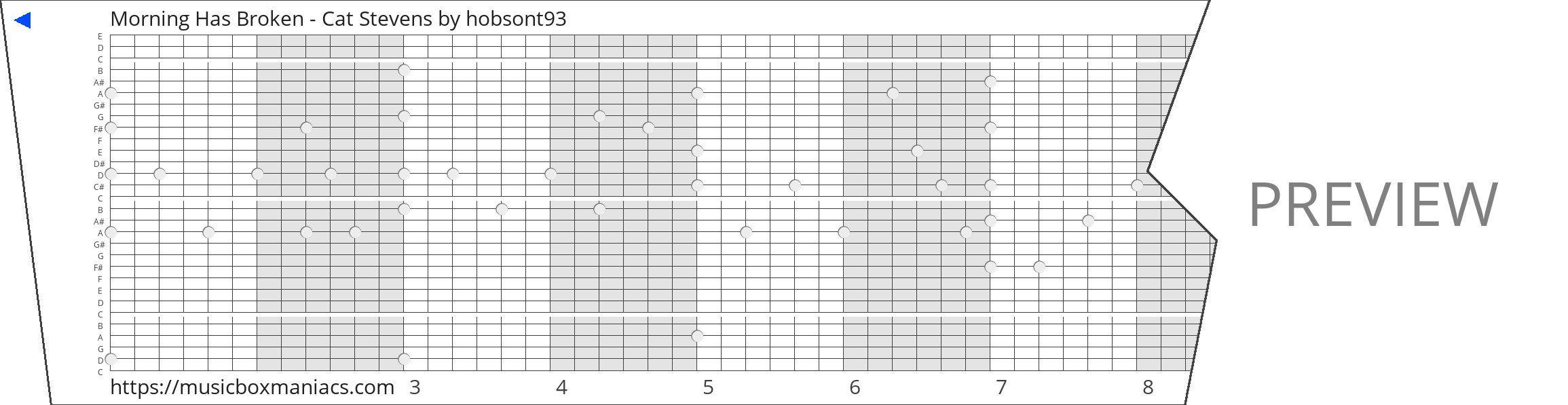 Morning Has Broken - Cat Stevens 30 note music box paper strip