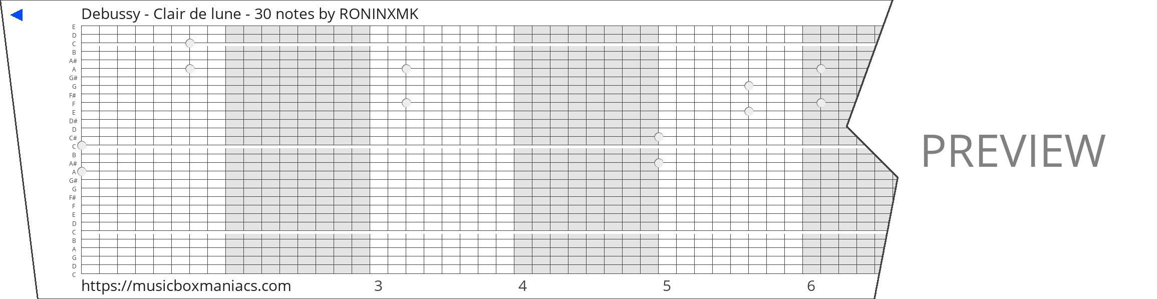 Debussy - Clair de lune - 30 notes 30 note music box paper strip
