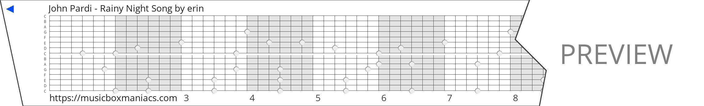 John Pardi - Rainy Night Song 15 note music box paper strip