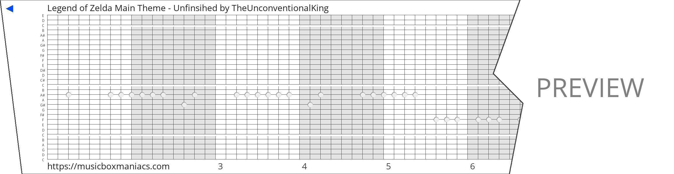 Legend of Zelda Main Theme - Unfinsihed 30 note music box paper strip
