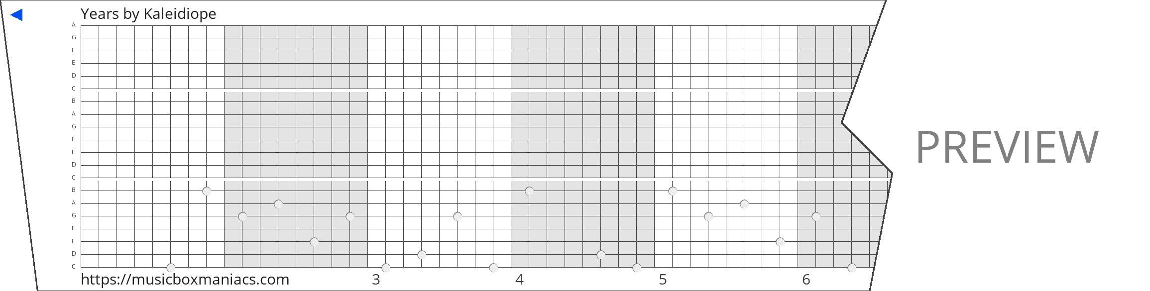 Years 20 note music box paper strip