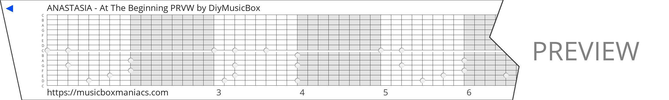 ANASTASIA - At The Beginning PRVW 15 note music box paper strip