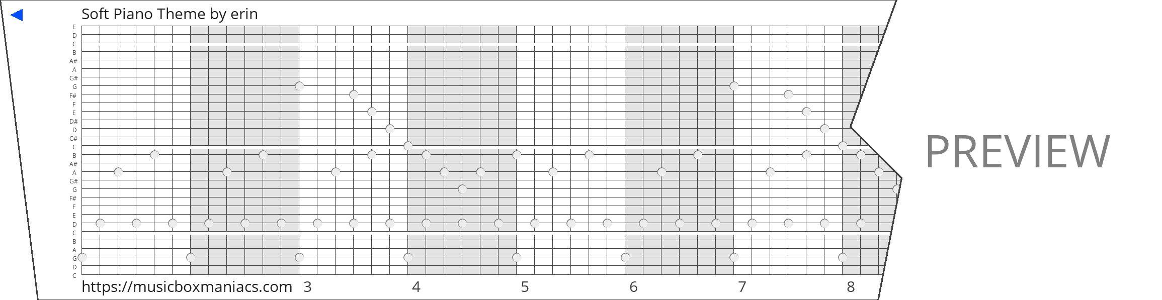 Soft Piano Theme 30 note music box paper strip