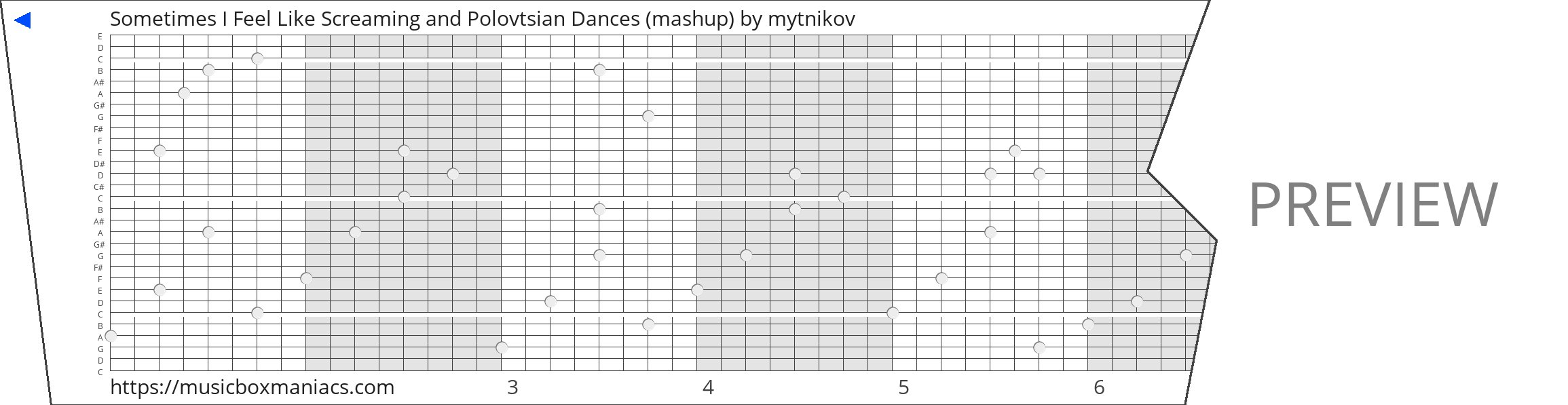 Sometimes I Feel Like Screaming and Polovtsian Dances (mashup) 30 note music box paper strip