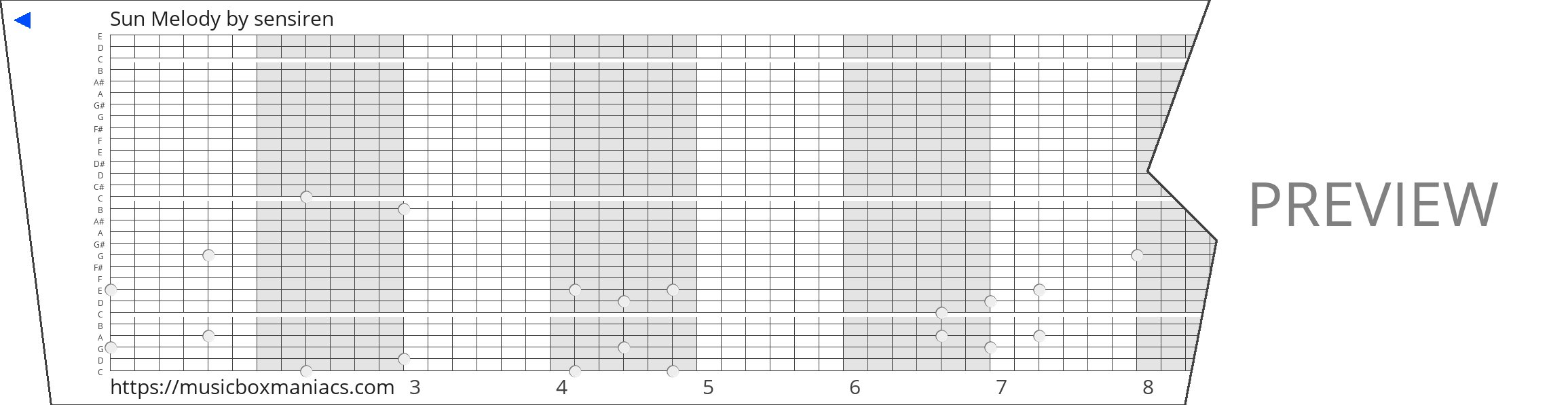 Sun Melody 30 note music box paper strip