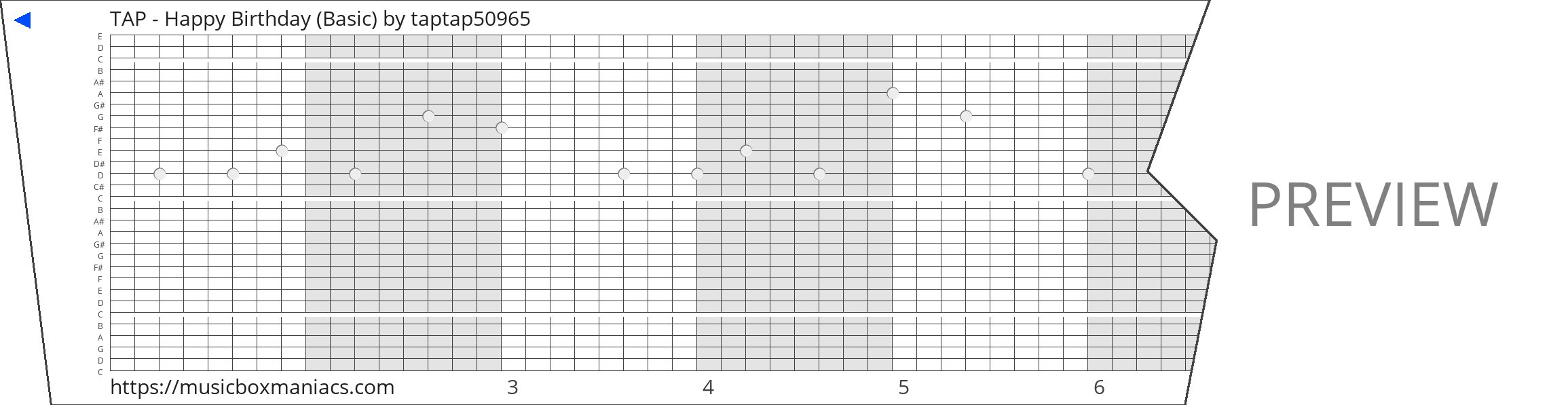 TAP - Happy Birthday (Basic) 30 note music box paper strip