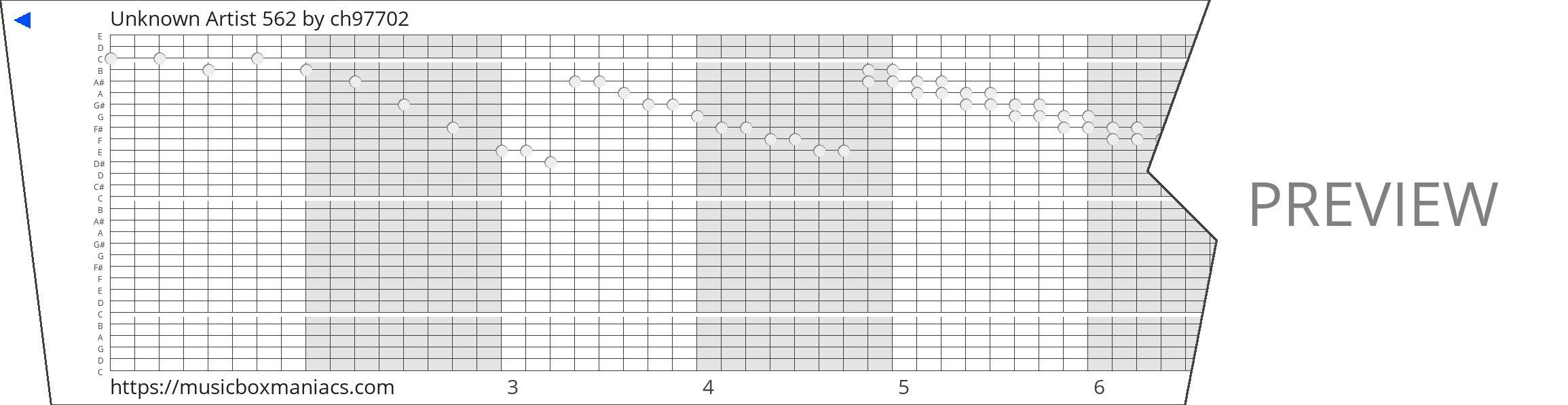 Unknown Artist 562 30 note music box paper strip