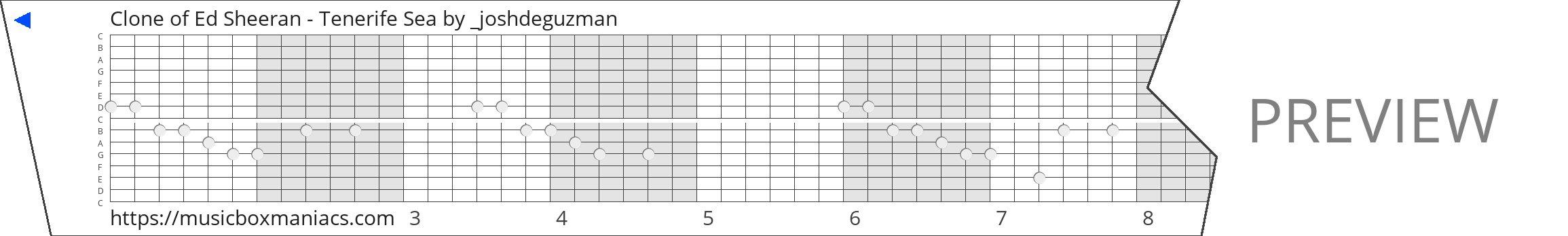 Clone of Ed Sheeran - Tenerife Sea 15 note music box paper strip