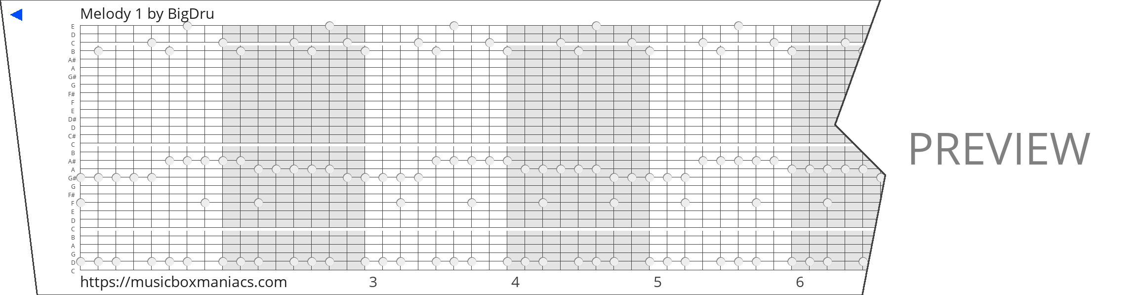 Melody 1 30 note music box paper strip