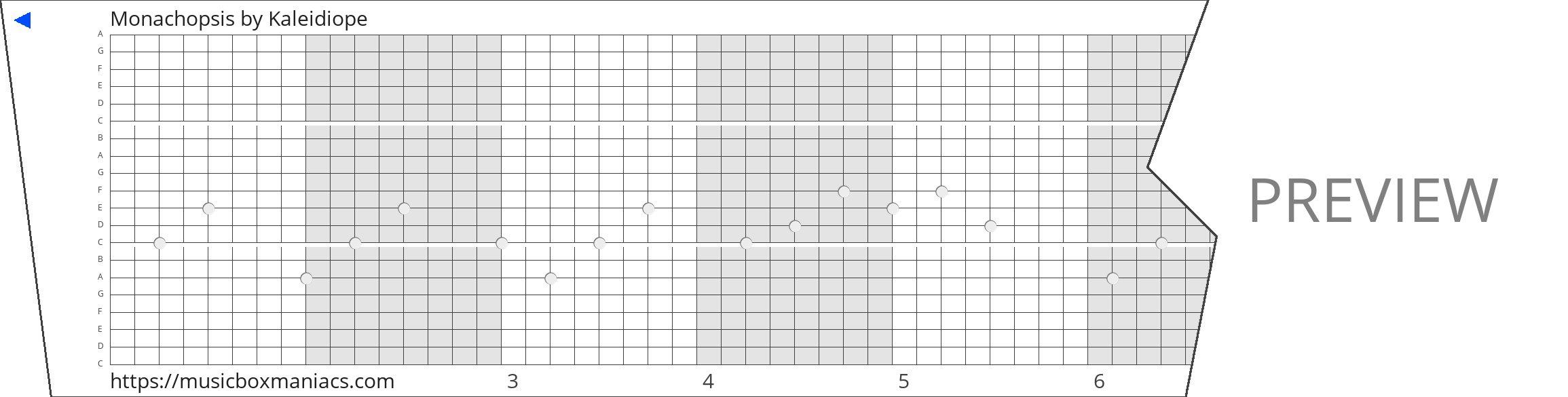 Monachopsis 20 note music box paper strip