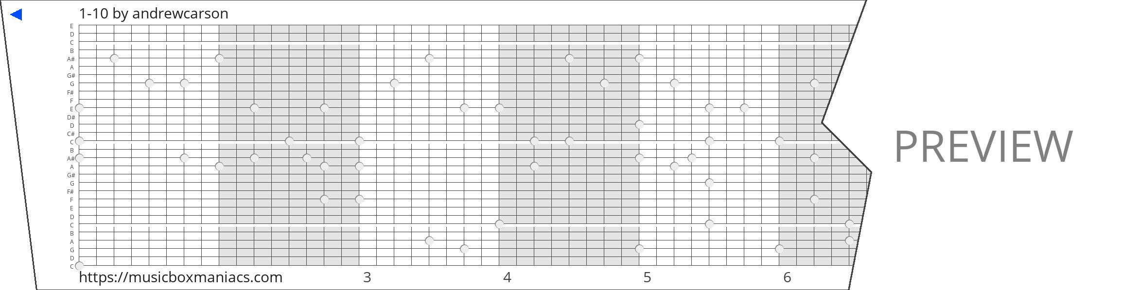 1-10 30 note music box paper strip