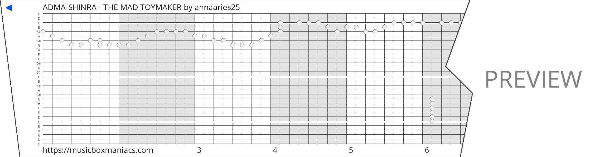 ADMA-SHINRA - THE MAD TOYMAKER 30 note music box paper strip