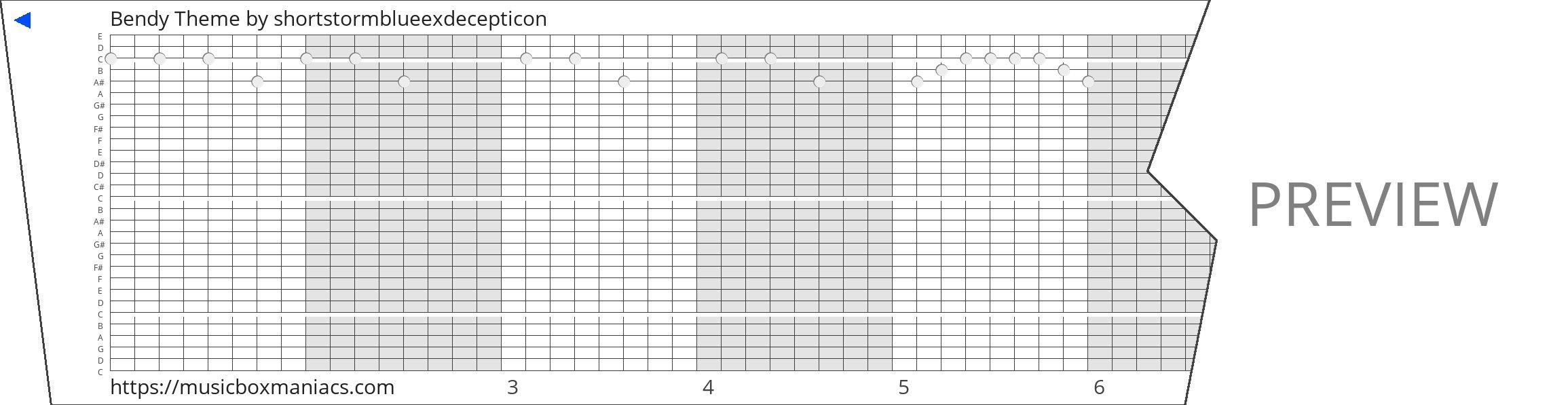 Bendy Theme 30 note music box paper strip