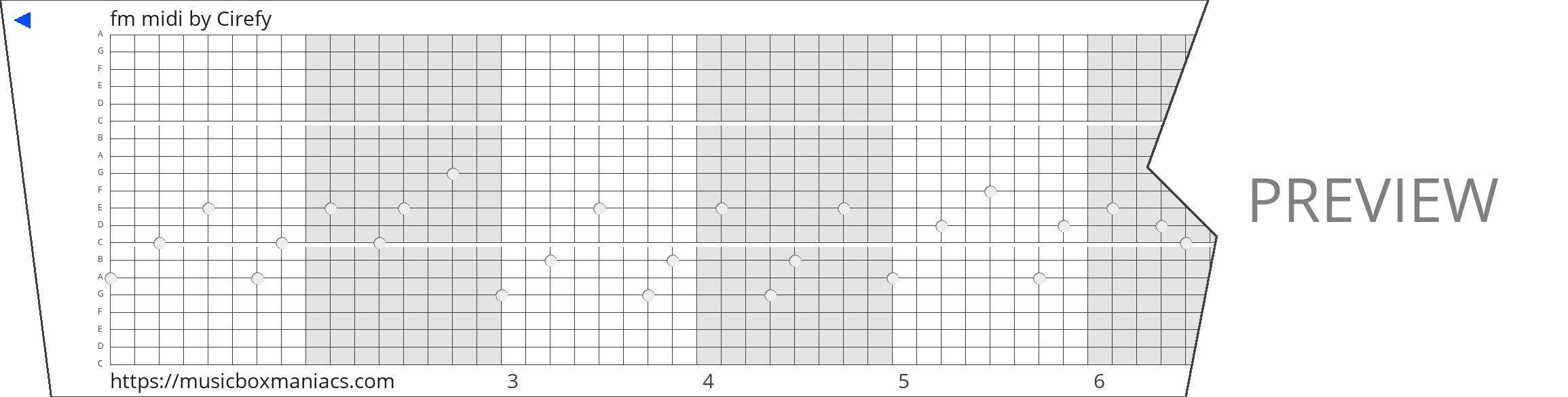 fm midi 20 note music box paper strip