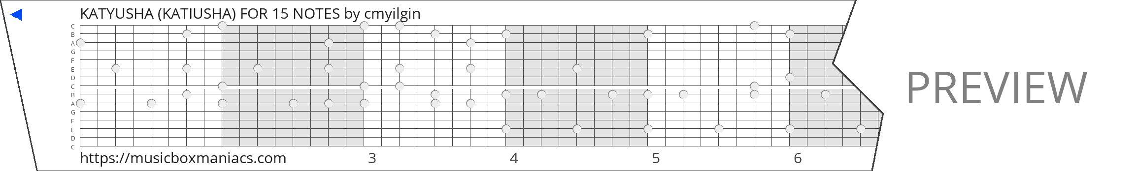 KATYUSHA (KATIUSHA) FOR 15 NOTES 15 note music box paper strip