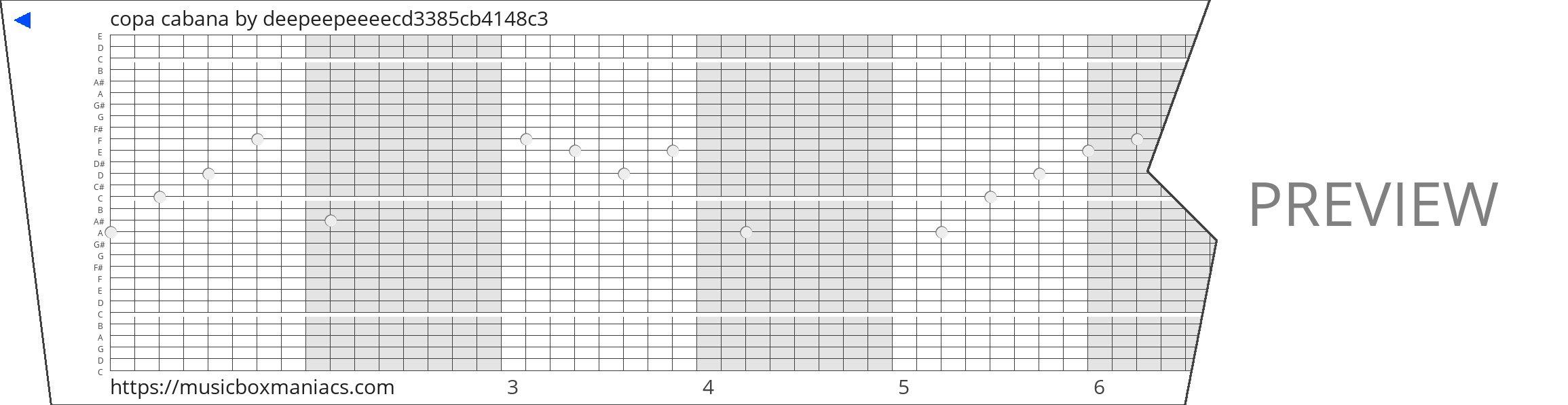 copa cabana 30 note music box paper strip
