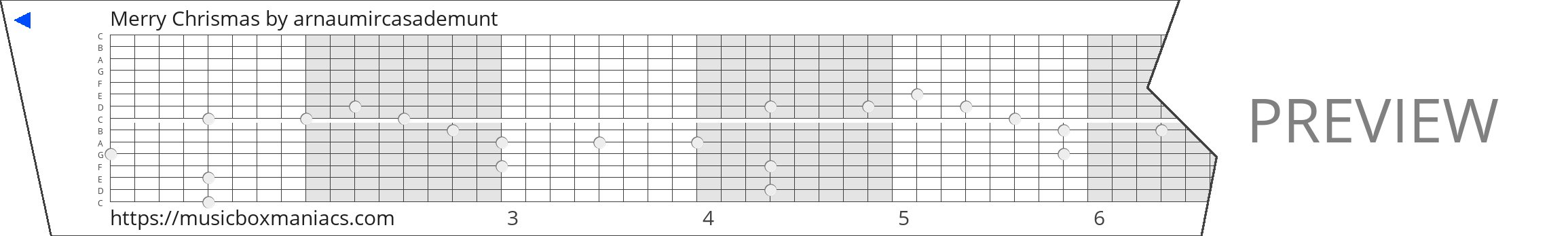 Merry Chrismas 15 note music box paper strip