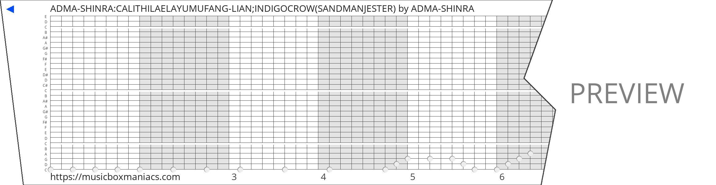 ADMA-SHINRA:CALITHILAELAYUMUFANG-LIAN;INDIGOCROW(SANDMANJESTER) 30 note music box paper strip