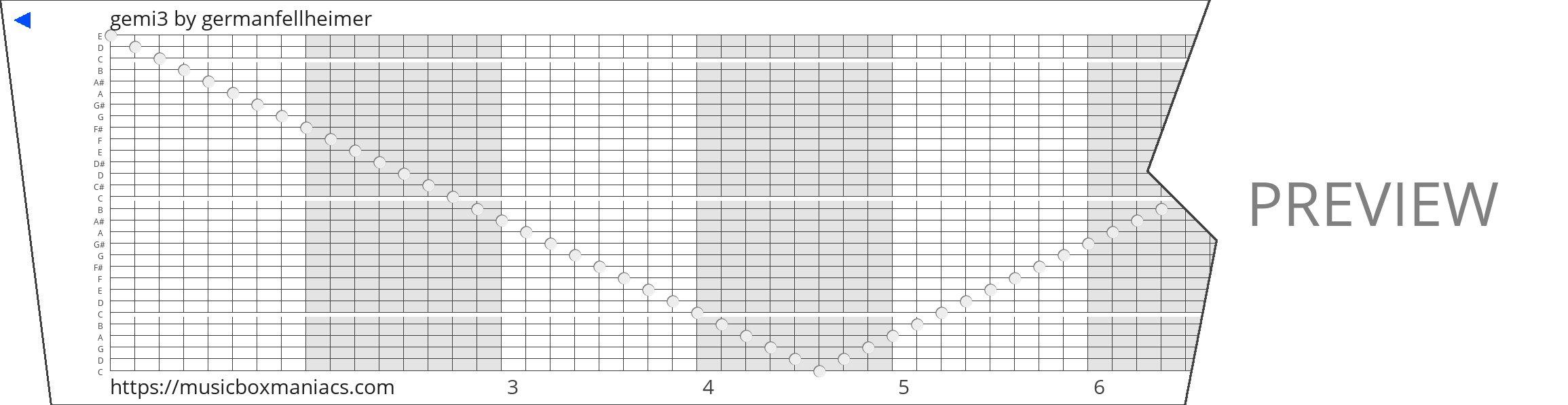 gemi3 30 note music box paper strip