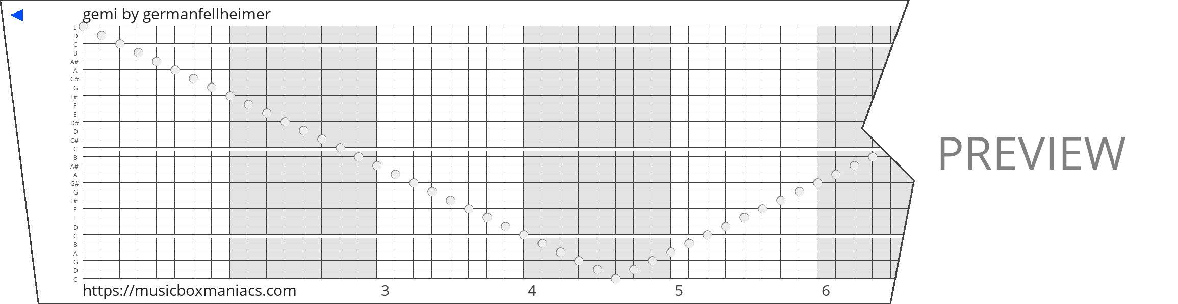 gemi 30 note music box paper strip