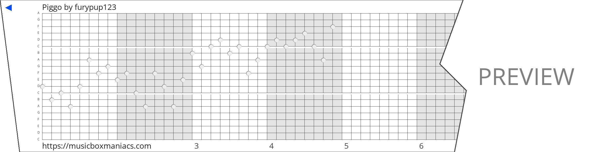 Piggo 20 note music box paper strip