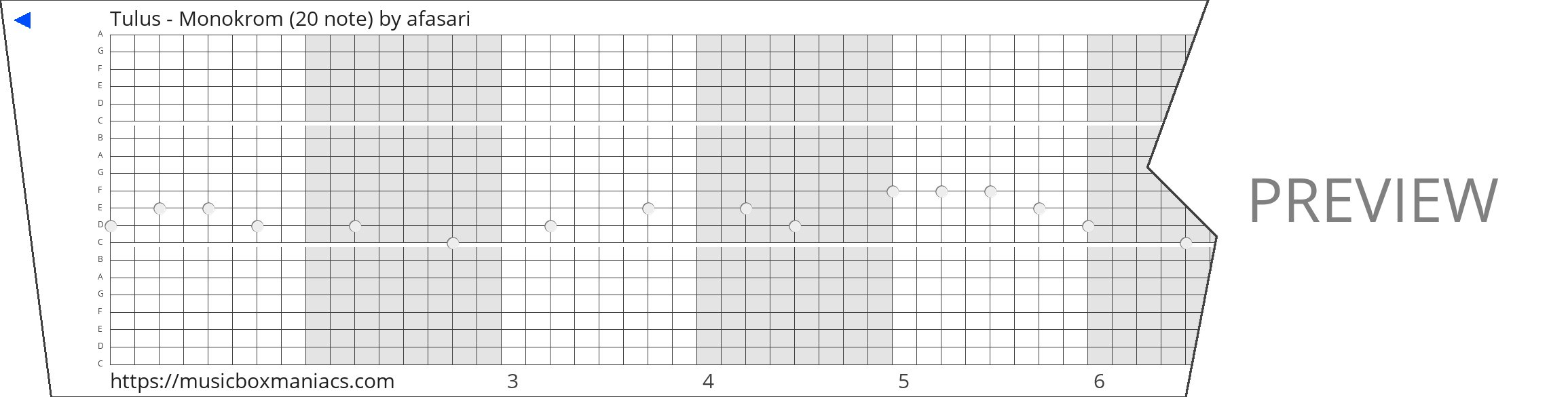 Tulus - Monokrom (20 note) 20 note music box paper strip